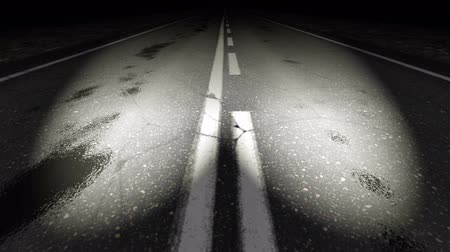 dobranoc : Dotted road line lighted by headlights - loop