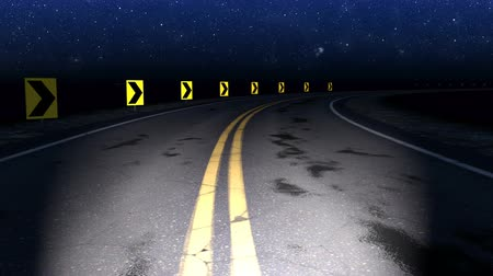 estrelado : Night curved road under starry sky - loop