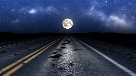 luar : Driving night road under stars and moon, loop