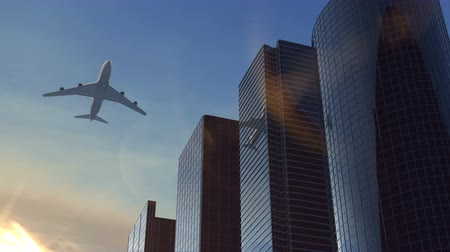 Animation airplane flying over business center against sunset Stock Footage