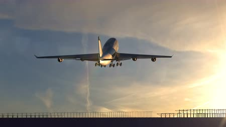 Animation large passenger airplane taking off against beautiful sunset