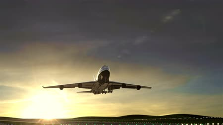 Large passenger airplane taking off against scenic sunset Animation