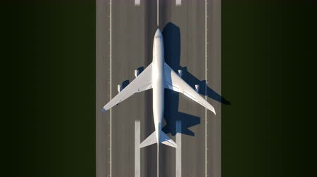Animation satellite watching large airplane taking off a runway