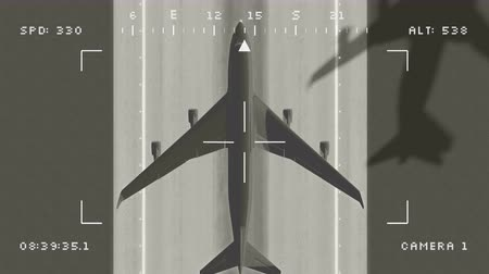Animation military surveillance drone footage of large airplane departing from an airport
