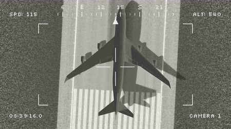 Animation military surveillance drone noisy footage of large airplane departing from an airport