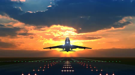Animation taking off airplane against beautiful sunset. Stock Footage