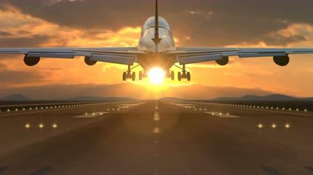 declínio : Large passenger airplane landing against scenic sunset