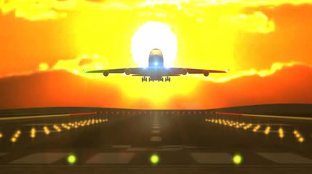 ground : Front view of large passenger airplane landing against yellow sunset Stock Footage