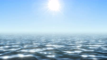 Sparkling endless sea surface under summer bright sun Stock Footage