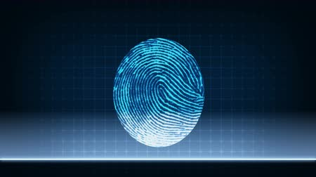 Step by step animation of fingerprint scanner work and biometric data analyzing process
