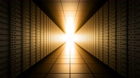 Camera moves through dark long bank vault room with safety deposit boxes and light at the end, infinite seamless loop