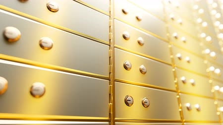 infinito : Golden safety deposit boxes in a bright bank vault room, infinite seamless loop