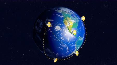 Submillimeter radio telescopes array network over planet Earth Stock mozgókép