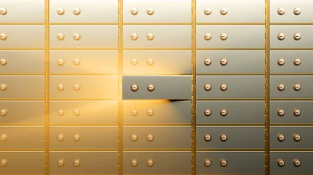 Golden safety deposit box door opening and showing a bright golden light glowing from inside it
