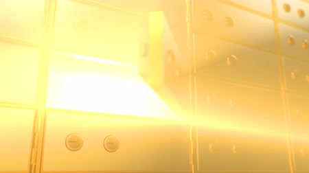 Golden safety deposit box door opening and showing a bright golden light glowing from inside, angle view