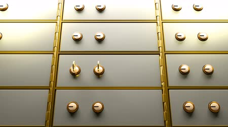 Safety deposit box door opened by two golden keys and then appears a bright golden light glowing from inside
