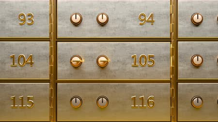 Empty black safety deposit box door opened by two golden keys Stock Footage