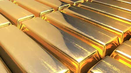Unpolished gold bars, close-up view, seamless loopable video. A concept of ultimate wealth.