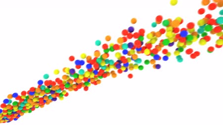 Multi-colored plastic balls being thrown in front of camera. Slow motion. Alpha channel included. Colored plastic balls can be used as illustration or background. Stock Footage
