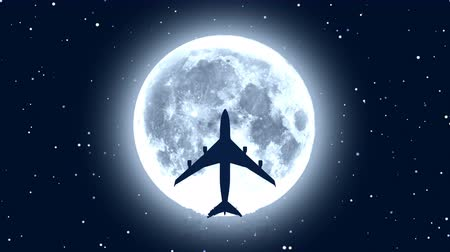Silhouette of passenger airplane flying over Moon in starry night Stock Footage