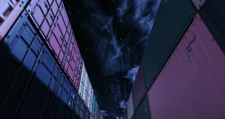 Cargo shipping container under starry midnight sky. Industrial containers are the best for cargo import export shipment. Camera seamlessly moves thru cargo boxes of different transportation companies Stock Footage