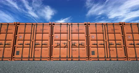 Empty cargo shipping container doors opening towards camera. Bright sunny day with light clouds in the sky. Stock Footage