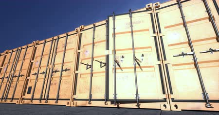 Empty yellow shipping container doors opening towards camera. Cargo shipping containers are the best for import or export large amount of different goods