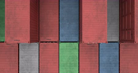 Aerial view of stacked cargo shipping containers