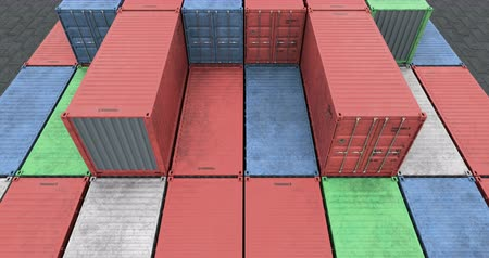 Aerial angle view of stacked cargo shipping containers Stock Footage