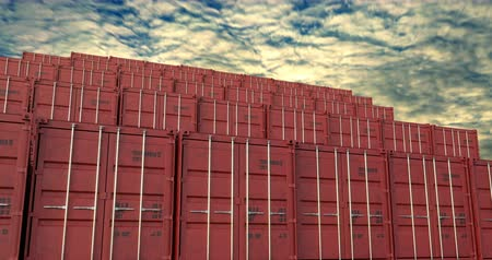 Cargo shipping container stacks under sunset cloudscape. Cargo containers are excellent for cargo import export shipment. Stock Footage