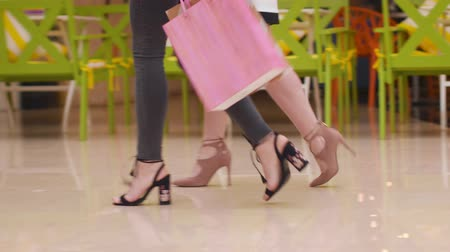 скидка : Young women walk with purchases in the mall. Стоковые видеозаписи
