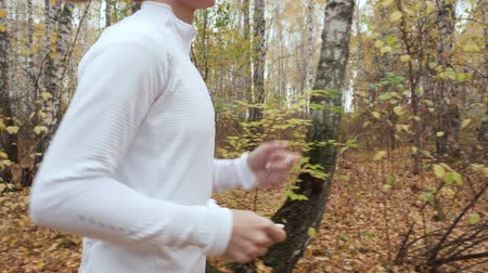 fallen leaves : Young blonde woman running in the autumn park. Stock Footage