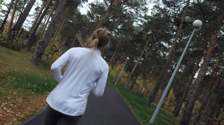 camera rotation : Young sporty woman running in the autumn park. Stock Footage