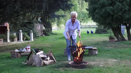 restful : Near the bonfire the good-looking woman roasts the sausages, a blackbird hops in the background in front of the garden house and is looking for earthworms