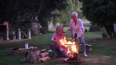 repousante : Attractive couple enjoying the romantic evening around the campfire and grilling sausages Stock Footage