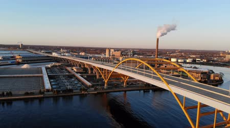 high rises : Aerial view of the american city at dawn. ?uildings, factory, bridge, bay. Sunny morning. Milwaukee, Wisconsin, USA