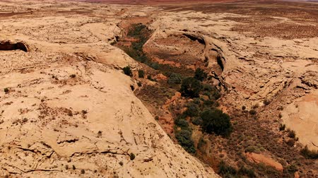 Desert in Utah, USA. Scenic landscape. Nature, geology, environment of Utah. View from above, aerial view, drone shot Stock mozgókép