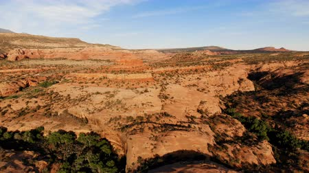 Desert in Utah, USA. Scenic landscape. Nature, geology, environment of Utah. Traveling. View from above, aerial view, drone shot