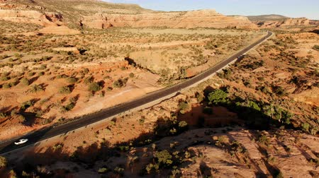 Desert, highway in Utah, USA. Scenic landscape. Nature, geology, environment of Utah. Traveling. View from above, aerial view, drone shot