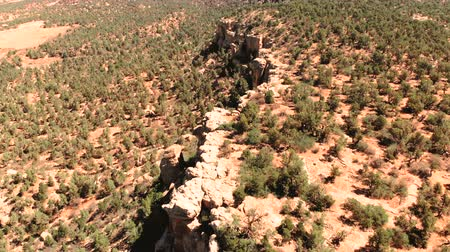 wayside : Desert in Utah, USA. Scenic landscape. Nature, geology, environment of Utah. View from above, aerial view, drone shot Stock Footage