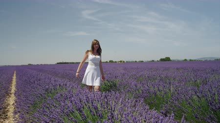 valensole : SLOW MOTION: Young woman walking through beautiful purple lavender filed in Provence, France Stock Footage