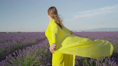 valensole : SLOW MOTION: Cheerful young woman in long yellow dress spinning in beautiful purple lavender field in sunny evening