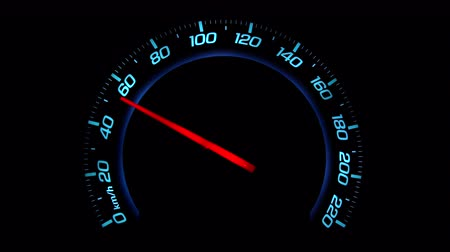 tachometer : CLOSE UP: Car accelerating from zero till 220 mph