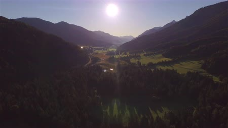 slovenya : AERIAL: Flying above beautiful mountain valley with spruce forest, river, lake and roads leading towards small town in sunny morning Stok Video
