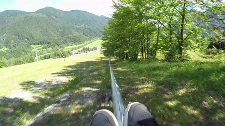 toboggan : FIRST PERSON VIEW: Summer sledge fun in winter ski resort