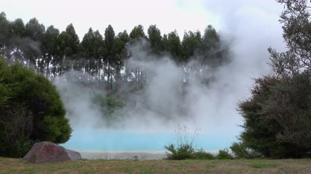 4K: Natural hot mineral water geothermal spring steaming Wideo