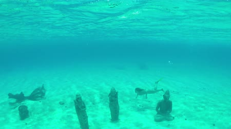 bora bora : UNDERWATER: Young woman swimming around sunken Buddha statues sanctuary under the sea in tropical island lagoon on her sunny summer vacations