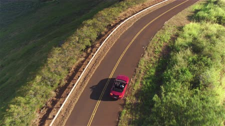 kabriolet : AERIAL: Flying above young couple driving the luxury red convertible car on a countryside road leading through beautiful nature in lush Hawaii island. Happy man and woman traveling on summer vacation Wideo