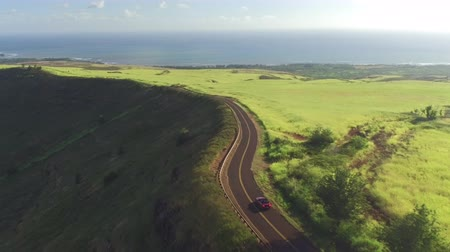 kabriolet : AERIAL: Luxury red convertible sports car driving on countryside road through meadow fields towards the ocean in lush Hawaii island Kauai. Happy man and woman traveling on sunny summer vacation