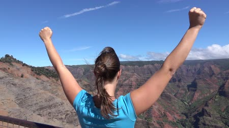 braços levantados : SLOW MOTION: Happy young woman hiker reached the top of the mountain, standing on the edge of magnificent canyon, victoriously outstretching hands up in the air. Excited woman raising arms proudly